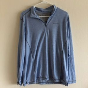 Orvis light Blue 1/4 zip pullover jacket